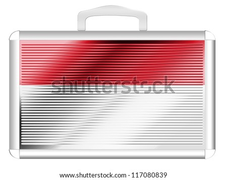 The Indonesian flag painted on metal aluminum case