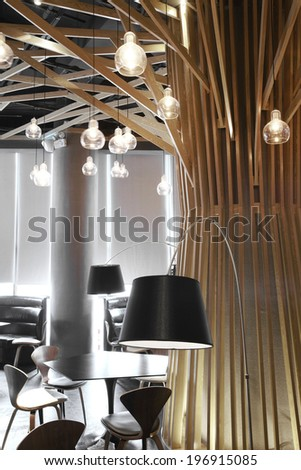 The indoor environment of modern restaurant,features restaurant  - stock photo