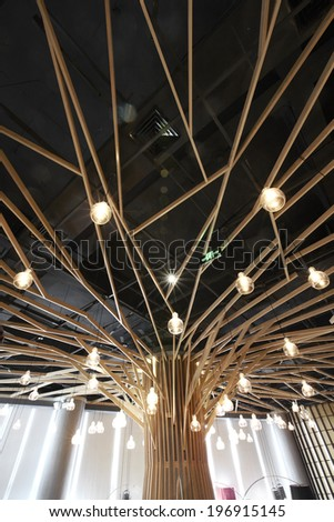 The indoor environment of modern restaurant,features restaurant's ceiling  - stock photo