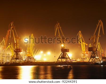 the industrial port at night - stock photo