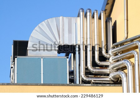 The industrial system of aeration made of stainless - stock photo