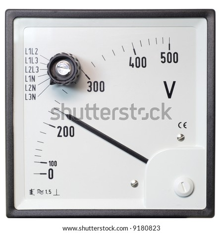 The industrial voltmeter - stock photo