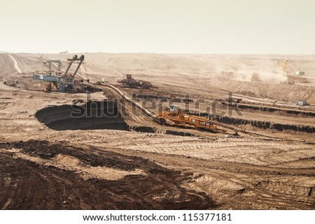 the industry scene - open cast - Most - Czech Republic - stock photo