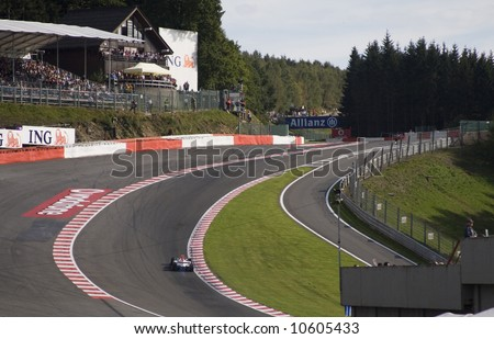 The infamous Eau Rouge corner in Formula 1 taken from the events area - stock photo