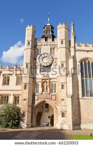 The inner courtyard of Trinity College in Cambridge, UK. - stock photo