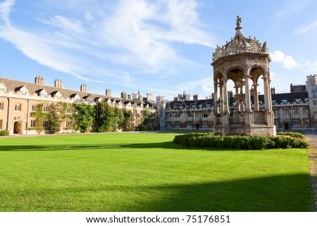 The inner courtyard of Trinity College in Cambridge, UK - stock photo