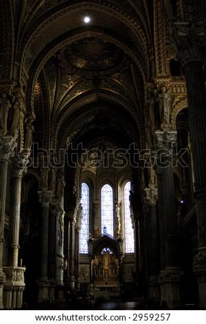 The inner hall of basilique Notre Dame de Fourviere, Lyon, France. - stock photo