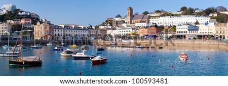 The inner harbour at Torquay Devon England UK - stock photo