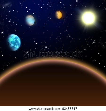 The inner solar system, view from Mars to Sun - stock photo