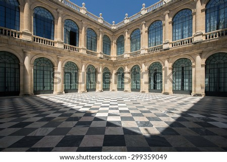 The inner square of the archive of the indies in Seville, Spain - stock photo