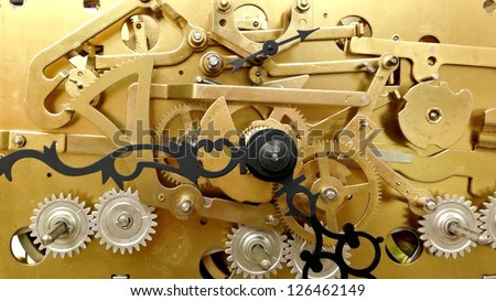 The Inner Workings of a Grandfather Clock - stock photo