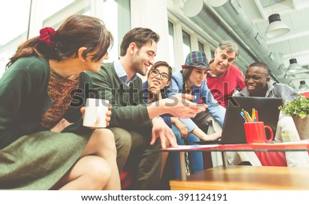 The innovative team.Start up team at work on a new project. business concept - stock photo