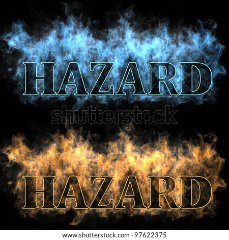 The inscription hazard in a fire - stock photo
