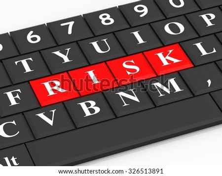 The inscription risk on the black keyboard - stock photo