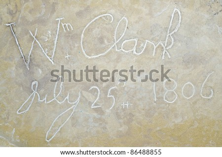 the inscription signature of William Clark, co-leader of the Lewis and Clark Expedition - stock photo