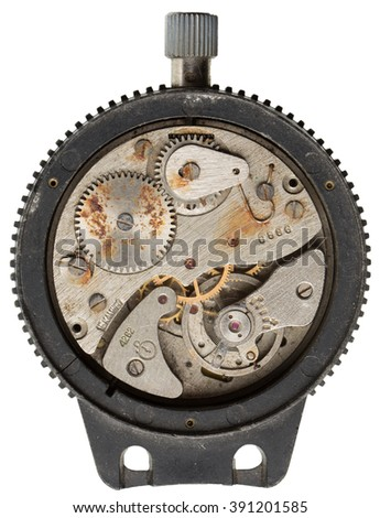 The inside mechanism of a stop watch in a black frame - stock photo
