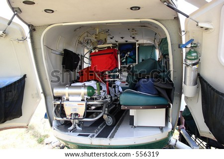 The Inside Of A Medical Helicopter Is Filled With Emergency Life Support Equipment