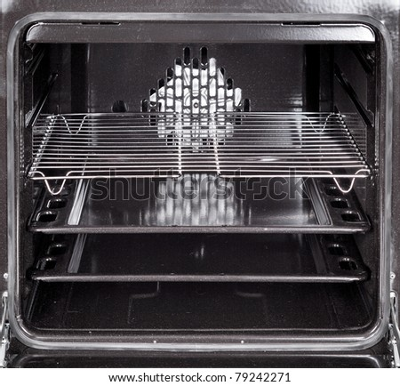 The inside of a stove oven