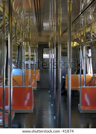 the inside of a train car in nyc - stock photo