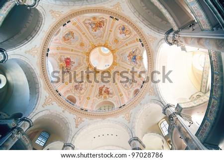 The inside of Frauenkirche in Dresden - Germany