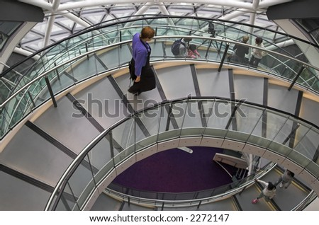 The inside of Norman Foster's City Hall in London.