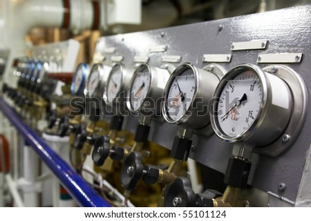 The instrument panel with manometres - stock photo