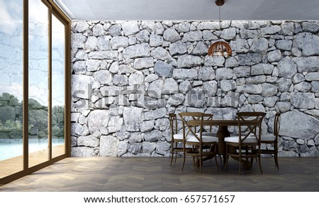 The Interior Design Of Villa Dining Room And Stone Texture Wall