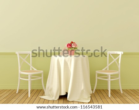 The interior in the style of Provence with two white chairs and a coffee table covered with a linen tablecloth on soft green background - stock photo