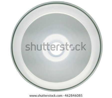 The interior modern lamp in the fixture when looking up to the ceiling,Image is isolate.