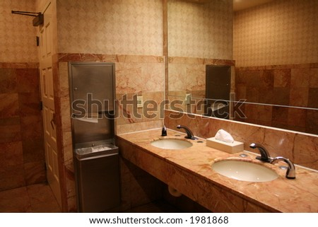 the interior of a bathroom - stock photo