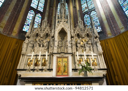 The interior of a catholic church in The Netherlands - stock photo
