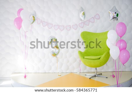 The interior of a child's birthday party, photo zone