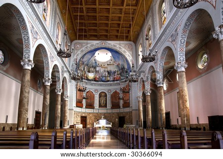 The Interior of a Church in Europe - stock photo
