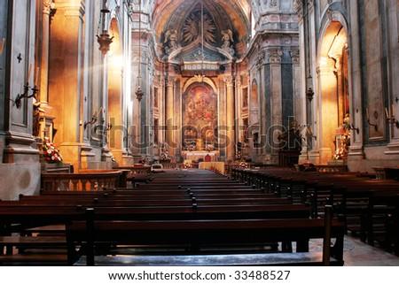 The interior of a church pesquisar - stock photo