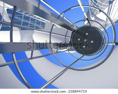 The interior of a modern building with an elevator. - stock photo