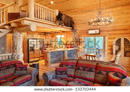 Interior modern log cabin stock photo 133703444 shutterstock for Modern log home interiors