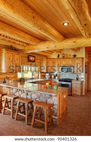 Log cabin interior stock photos images pictures for Modern log home interiors