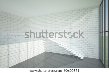 The interior of a two-story home in a minimalist style with stained-glass windows and walls of brick, painted white. - stock photo