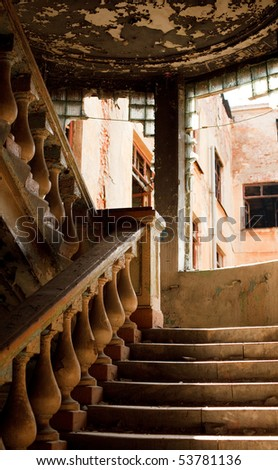 The interior of an abandoned structure. - stock photo