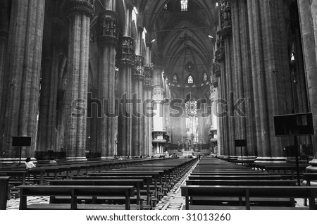 The interior of Duomo in central Milan Italy - stock photo