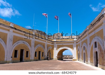 The interior of El Morro fort located in Old San Juan Puerto Rico. - stock photo