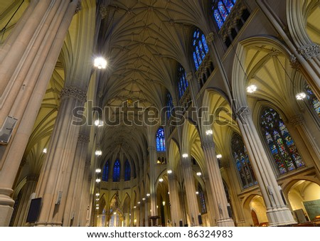 The Interior of Saint Patrick's Cathedral in New York City, a landmark Roman Catholic Cathedral in Manhattan. - stock photo