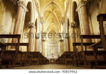 The interior of the ancient cathedral Real Duomo, the Royal Cathedral in Erice, Sicily. - stock photo