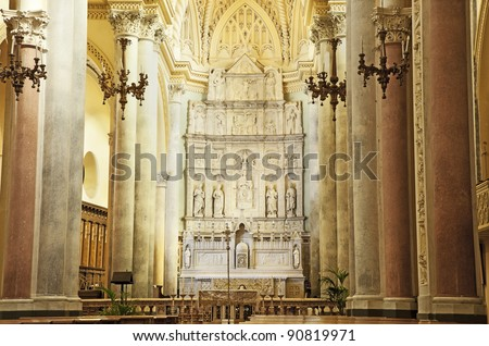 The interior of the ancient cathedral Real Duomo, the Royal Cathedral in Erice, Sicily.