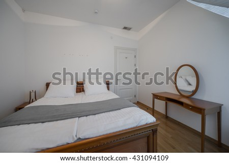 The interior of the bedroom.