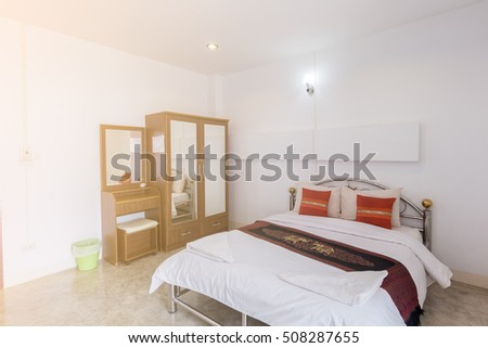 The interior of the bedroom at home.