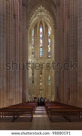 The interior of the Cathedral of the Batalha Santa Maria da Vitoria Dominican abbey - Portugal - stock photo
