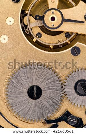 The interior of the clock mechanism - stock photo