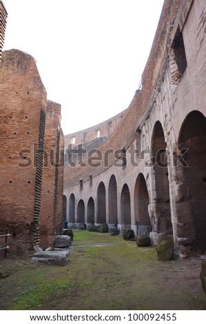 The interior of the Colosseum in Rome