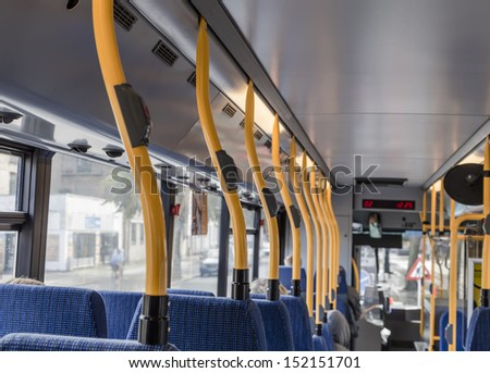 The interior of the commuter bus - stock photo